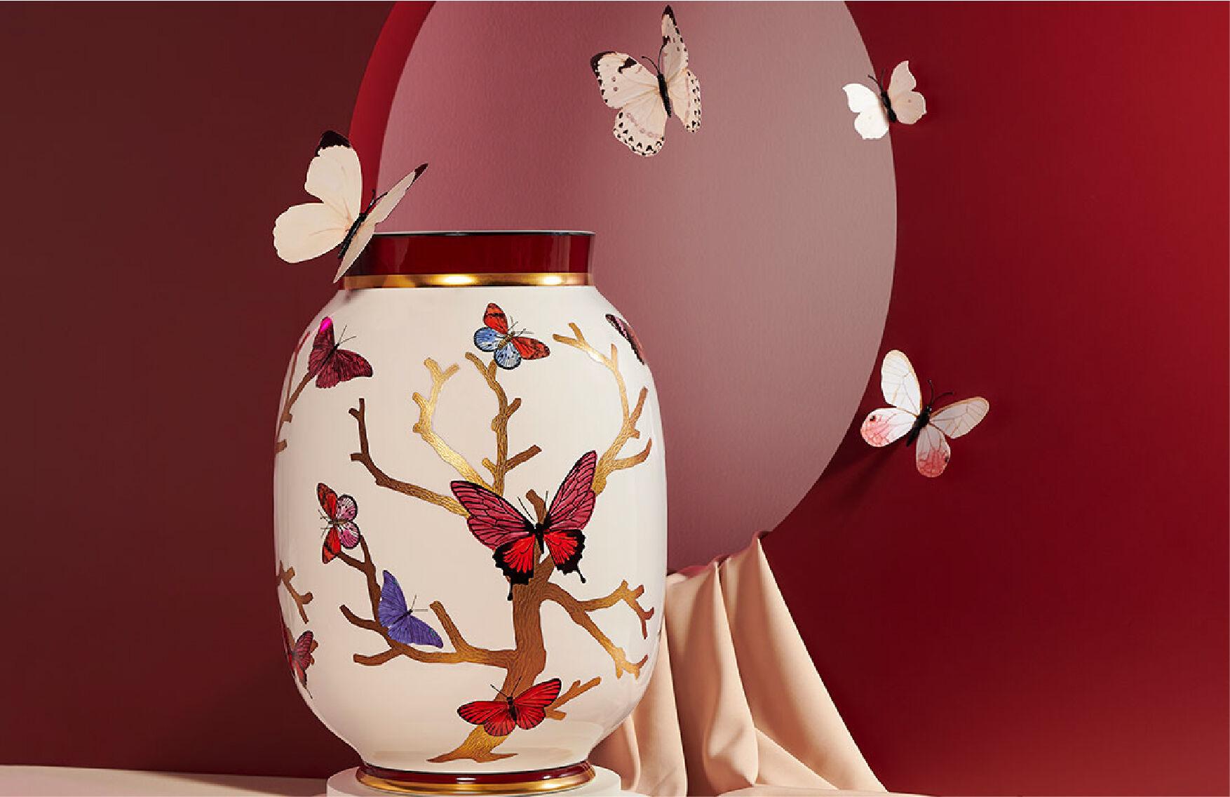 Aux Papillons Vase by Bernardaud