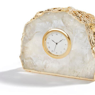 Ampliar Crystal And 24K Gold Clock