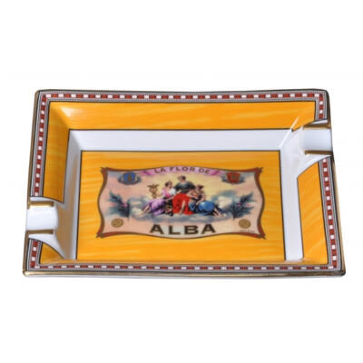 Porcelain Cigar Ashtray - Alba Gold Yellow