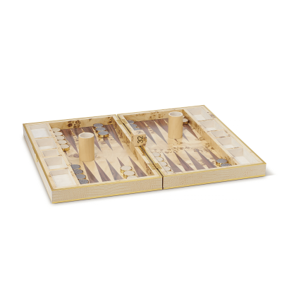 Croc Leather Backgammon Set