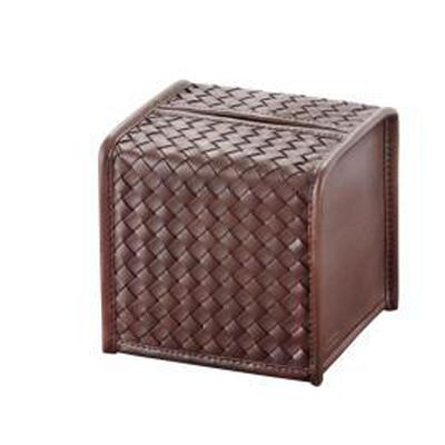 Hand Woven Leather Tissue Box Cover