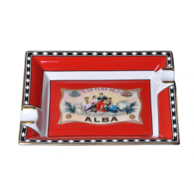 "Porcelain Ashtray ""Flor De Alba"" Red"