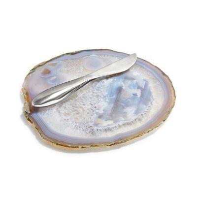 Semi Precious Stone Ita Cheese Plate With Spreader