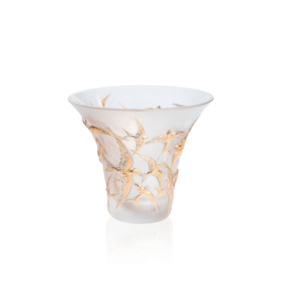 Clear And Gold Stamped Hirondelles Flared Vase
