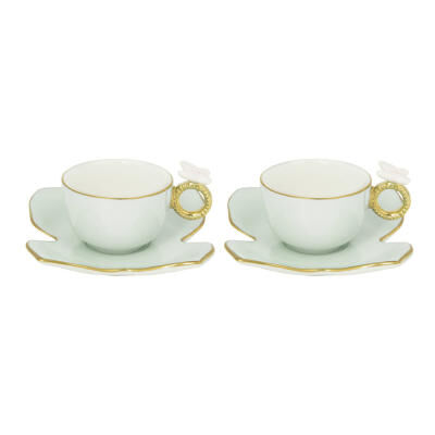 Blooming Butterfly Box Tet A Tet - Coffee Cup And Plate 2 Pc