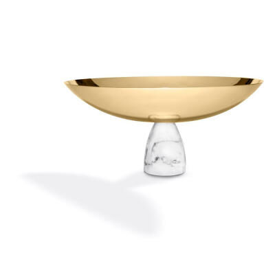 Coluna Carrara Marble And Gold Fruit Bowl