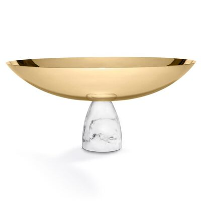 Coluna Carrara Marble And Gold Nut Bowl