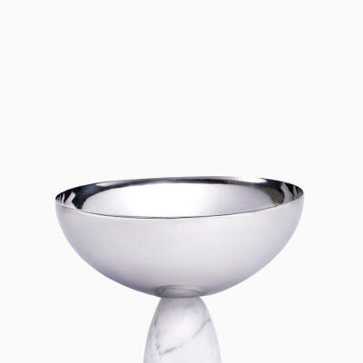 Coluna Carrara Marble And Silver Nut Bowl
