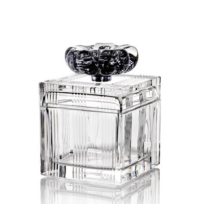 Square Box With Lid And Black Flower