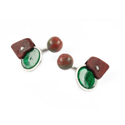 Cufflinks Rosewood Enamel Unakite Silver. With Box