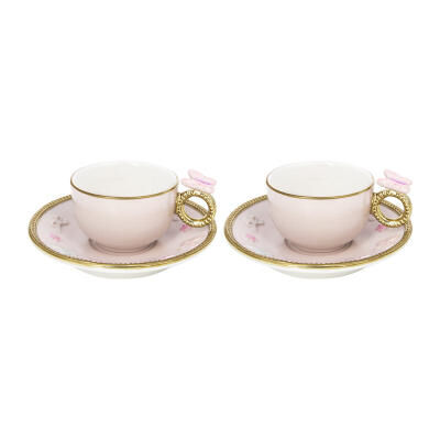 Butterfly Coffee Box - Set Of 2 Cups & Round Saucers - Baby Rose