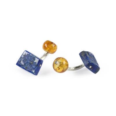 Cufflinks Lapis-Lazuli Amber Silver. With Box
